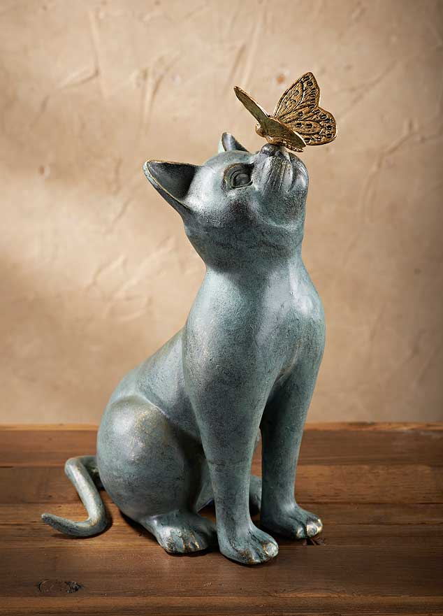 Cat U0026 Butterfly Garden Sculpture