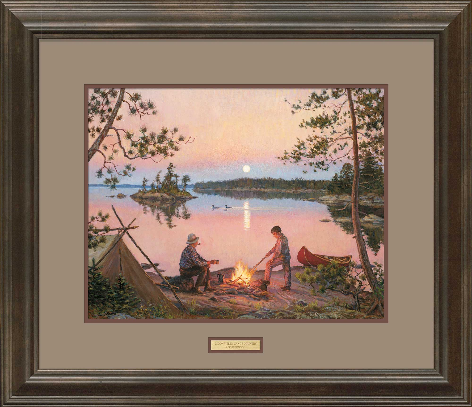 Camping Art; Moonrise in Canoe Country Framed Print | Wild Wings
