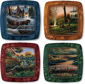 5955506596 Family Square Mini Plates by T. Redlin & Family Square Mini Plates by T. Redlin | Wild Wings